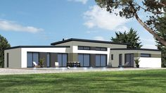 Réalisation maisons plain-pied. Architecture originale très séduisante avec sa toiture mono pente en Zinc ...