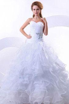 [145.62 €] Robe de mariée romantique organza de cristal avec sans manches de traîne mi-longue en chute