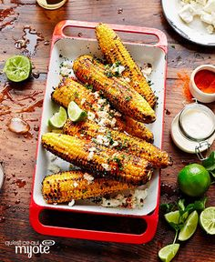 Mexican Grilled Corn with Feta & Lime Recipe Lime Recipes, Summer Recipes, Mexican Food Recipes, Feta, Mexican Grilled Corn, Happy Vegan, Healthy Living Recipes, Cooking Instructions, Eat Smarter