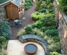 How to handle a long, narrow garden is part of Terrace garden Layout - This Edinburgh terrace has it all patio, veg patch, raised beds, seating and shed Garden Cottage, Garden Beds, Modern Garden Design, Landscape Design, Small Garden Design With Shed, Small Back Garden Ideas, Small Garden Layout, Small Garden Inspiration, Modern Design