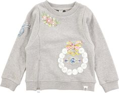 Mary - Grey Melange - grey oversized sweatshirt with pearl print