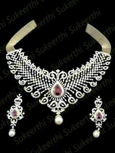 Indian Jewellery Designs - Diamond necklace