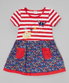 Another great find on #zulily! Red & White Stripe & Floral Dress - Infant, Toddler & Girls #zulilyfinds