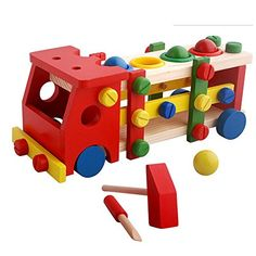 Wood Education Child Scrap Screw Car Disassembly Removable Multifunction Knock Ball Tinker Toy -- More info could be found at the image url.