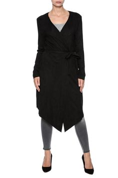 Long black suedetteJacket with an adjustable tie waist, open front and collared neckline.   Black Suedette Jacket by Molly Bracken. Clothing - Jackets, Coats & Blazers - Jackets San Francisco