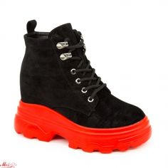 Ghete cu Platforma Dama SJN231 Black-Red Mei Hiking Boots, Red, Shoes, Black, Fashion, Moda, Zapatos, Shoes Outlet, Black People