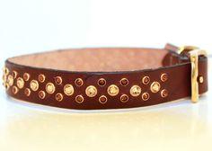 Fancy Brown Leather Dog Collar with Swarovski by UrsaMinorDesign