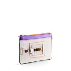 GEMINI multicolor gems. A vegan bracelet clutch, mini IPad size with an adjustable wristlet strap. Made of luscious faux exotic skins. #NeverLeather