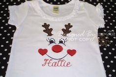 Reindeer Girl Custom Embroidered Shirt--Christmas Rudolf Girl-- Embroidered shirt or bodysuit by XOXOAsh on Etsy