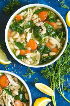 Greek Lemon Chicken Soup - A quick and easy 30 minute chicken soup - so cozy and comforting! We swap out the noodles for cannellini beans for added protein and fiber with way less calories! And the added lemon juice is so refreshing and vibrant!