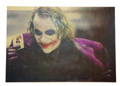 The Dark Knight Joker Art Print Paper Poster/  Clown Masks Poster/ Vintage Styled Movie Poster/ Heath Ledger Art Wall Deco Poster/ Gift