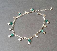Bracelet de cheville acier inoxydable Perles à facettes