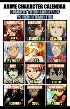 Mine is kirito ^^ Otaku Anime, Manga Anime, Naruto, Anime Zodiac, Video Game Cosplay, Birthday Dates, Vash, Birth Month, Anime Crossover