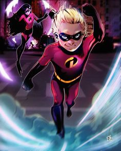 Celebrating Incredibles Dash and Violet. Who is your favorite superhero in Incredibles? It is finally done and was a challenging one! Walt Disney, Disney Magic, Disney And Dreamworks, Disney Pixar, Violet Parr, Studios, Twisted Disney, Pixar Movies, Disney Fan Art