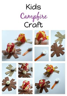 An easy tutorial for creating a kids campfire craft using tissue paper, glue… Paper Crafts For Kids, Kid Crafts, Bingo Sheets, Diy Gifts For Kids, Autumn Crafts, Gifted Kids, Camping Theme, Paper Glue, Tissue Paper