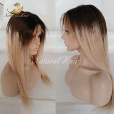 102.00$  Watch now - http://alixuv.worldwells.pw/go.php?t=32736142147 - High Quality Ombre Colour Full Lace Wig Glueless Lace Front Wig natural straight Human Hair Wigs With middle part Freeshipping