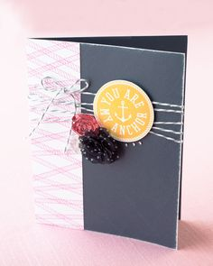 Feminine take on the nautical trend. Images on this card were stamped using the My Acrylix® Sail Away stamp set. #CTMH