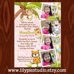 SALE - Queen of the Jungle Photo Birthday Invitation PRINTABLE FILE.