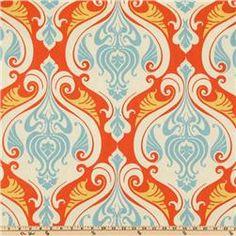 Indoor Outdoor Fabric. Orange And Turquoise.