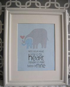 8x10 nursery print baby mine elephants. $10.00, via Etsy.