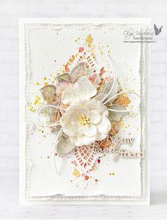 card vintage flowers leaves prima doily Scrap story ...