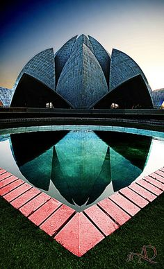 The Lotus Temple, located in New Delhi, India. The Lotus Temple has won numerous architectural awards and been featured in hundreds of newspaper and magazine articles. And it is a Bahá'í House of Worship completed in Delhi India, India India, Delhi Ncr, New Delhi, Beautiful Architecture, Art And Architecture, Nova Deli, Lotus Temple, Futuristic Architecture