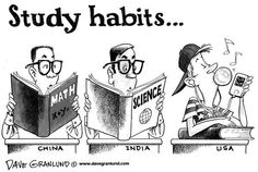 This editorial cartoon addresses the issue of the importance education to teenagers in America in comparison to the rest of world. It utilizes the persuasive technique of labeling to portray America's indifference towards learning. This illustration addresses education but also America's position in the world, asking if these are the 'Study Habits' for todays youth, where will America stand when this generation has to govern in a world.