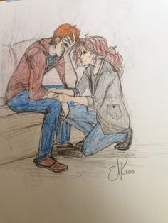 Hermione comforting (or trying to…) Ron who is mourning Fred, after the war ….. http://catching-smoke.deviantart.com/art/DH-Relief-349047145