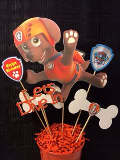Paw Patrol Zuma party Centerpiece by myhusbandwearscamo on Etsy, $14.00