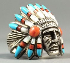 HEAVY Vintage Sterling Silver Turquoise INDIAN CHIEF HEAD DRESS MENS Ring Sz 10