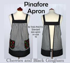 Extremely popular classy black gingham Pinafore Apron (with adorable retro cherry pockets) which is designed to be so easy to put on and take off-- with no ties, buttons, or fasteners of any kind. (*This fabric combination is identical to the very first apron I designed in this
