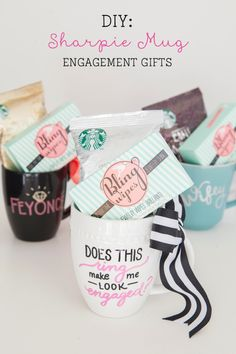 DIY Sharpie Mug Engagement Gift by Something turquoise - a tutorial for using sharpie paint pens on ceramics. Sharpie Paint Pens, Sharpie Crafts, Diy Sharpie Mug, Sharpie Markers, Sharpies, Craft Gifts, Diy Gifts, Diy Nagellack, Design Your Own Mug