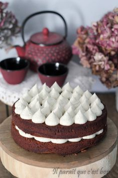 Gâteau chocolat, ganache montée chocolat blanc