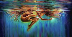 Aquarius Woman Painting - Aquarian Rebirth II Divine Feminine Consciousness Awakening by Robyn Chance Fantasy Kunst, Fantasy Art, Fine Art Amerika, Aquarius Art, Aquarius Woman, Sacred Feminine, Feminine Energy, Goddess Art, Orisha