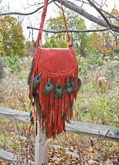 Ombre' Sheepskin Fringe Bag w/Peacock feathers by confettijulie