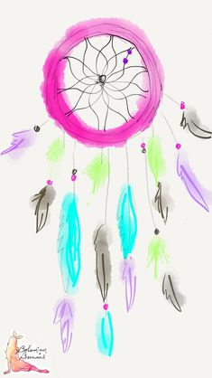 Boho Pink turquoise Dreamcatcher illustrated sketch art iphone wallpaper phone background lock screen