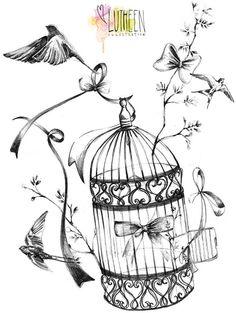 Birds With Birdcage Decoupage Vintage, Vintage Paper, Coloring Books, Coloring Pages, Adult Coloring, Etiquette Vintage, Foto Transfer, Buch Design, Images Vintage