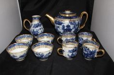 Antique Chinese blue and white willow tea set teapot 10 pieces