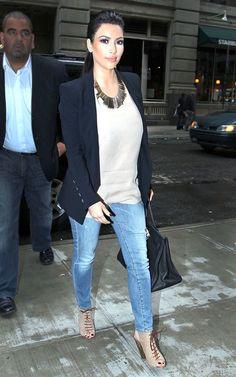 Kim Kardashian wearing Hermes So Black Birkin 35 bag R13 The Legging Skinny Jeans in Scar Blue Giuseppe Zanotti Camel Python Embossed Lace up Booties