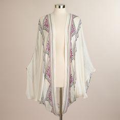 White Frayed Kimono Jacket with Embroidery | World Market