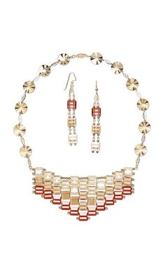 Bib-Style Necklace and Earring Set with SWAROVSKI ELEMENTS and 14Kt Gold-Filled Beads and Plaques