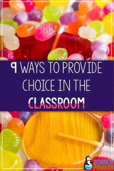 9 simple ways to provide choice in the classroom from the Science Penguin. Stop battles before they begin by providing options. Don't be afraid to give up some of your control.