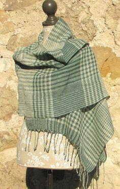 Handwoven Linen Flax Shawl Green Islands Num4 by AMIZANTI on Etsy, $120.00