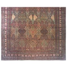 Antique Persian Lavar Oriental Carpet, Mansion Size with Jewel Tones, circa 1880 | From a unique collection of antique and modern persian rugs at https://www.1stdibs.com/furniture/rugs-carpets/persian-rugs/