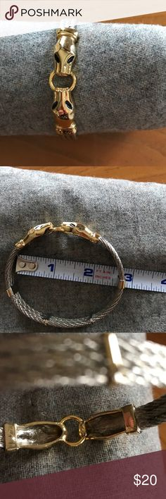 Snake bracelet in silver, gold and enamel Classic look. Fits up to a large size wrist. Jewelry Bracelets