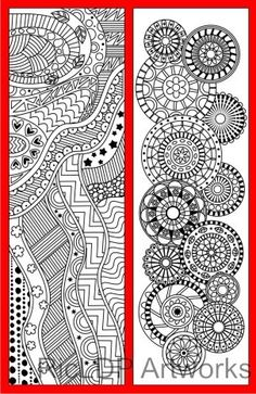 4 Coloring Bookmarks with Abstract Patterns #coloring #bookmarks