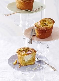 Peach, pistachio and ricotta friands: Friands, mini French-style muffins made with ground almonds are so easy to make. Follow this simple recipe and treat your friends and family to these pretty, ricotta and fruit-filled delights.