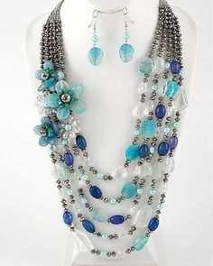 Quality Turquoise Blue Multi Strand Flower Glass Beaded Necklace Set Gift Office