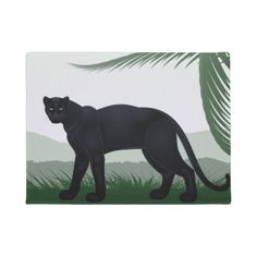 #Black Jungle Panther Doormat - #doormats #home & #living