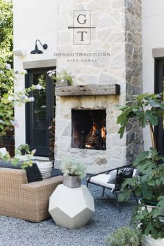Outdoor stone fireplace rustic chic